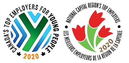 Logos for Canada's Top Employers for Young People 2020 and National Capital Region's Top Employers 2020