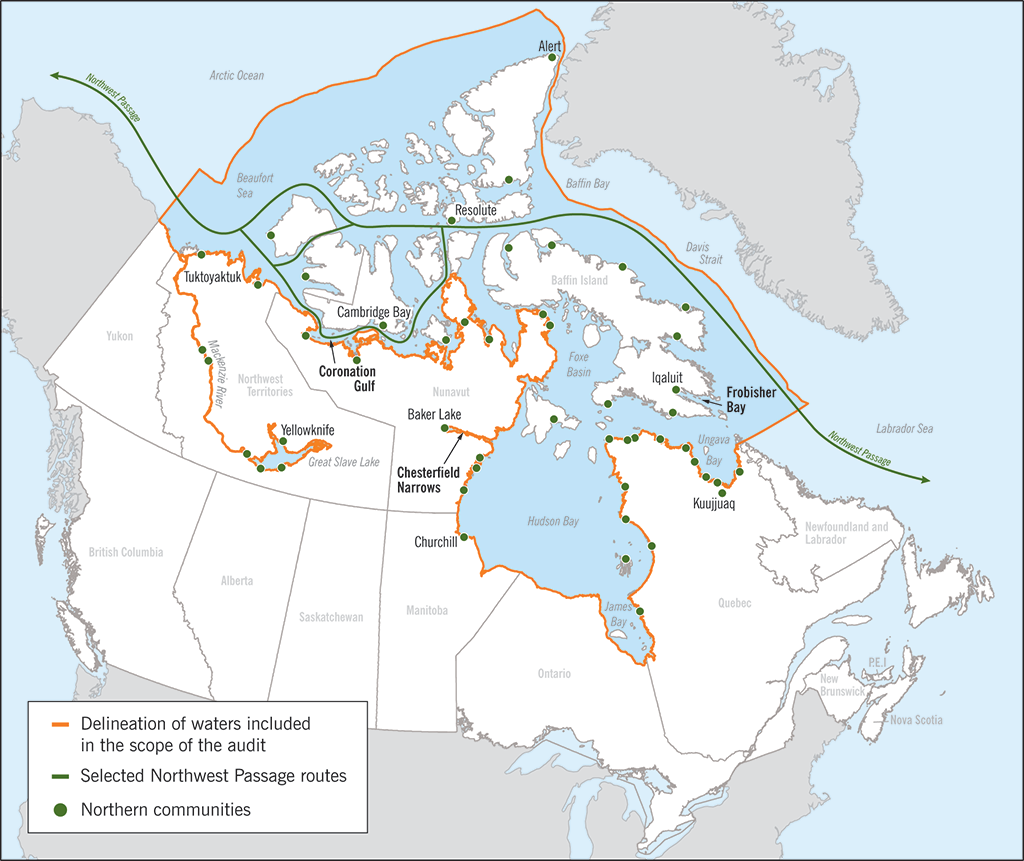 Map of Arctic waters that are included in the scope of the audit