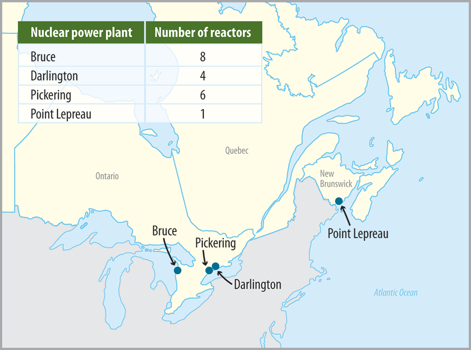 map showing the locations of the four nuclear power plants operating in canada and a