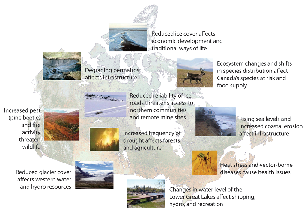 Map with photographs and brief descriptions of climate change impacts felt across Canada