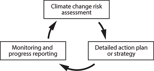 Cyclical flow chart showing the three basic steps of evidence-based adaptation planning
