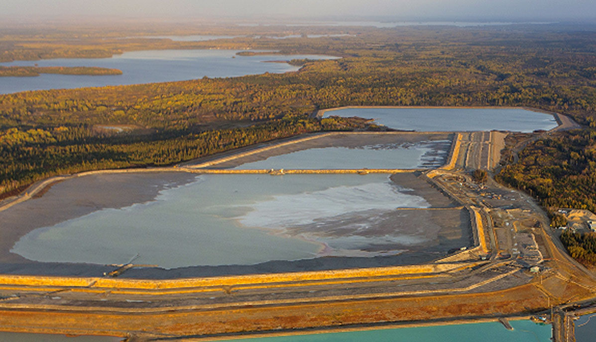 Photo of a tailings impoundment area