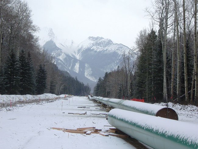Photograph of lengths of pipelines lying on snowy ground in a forested and mountainous region