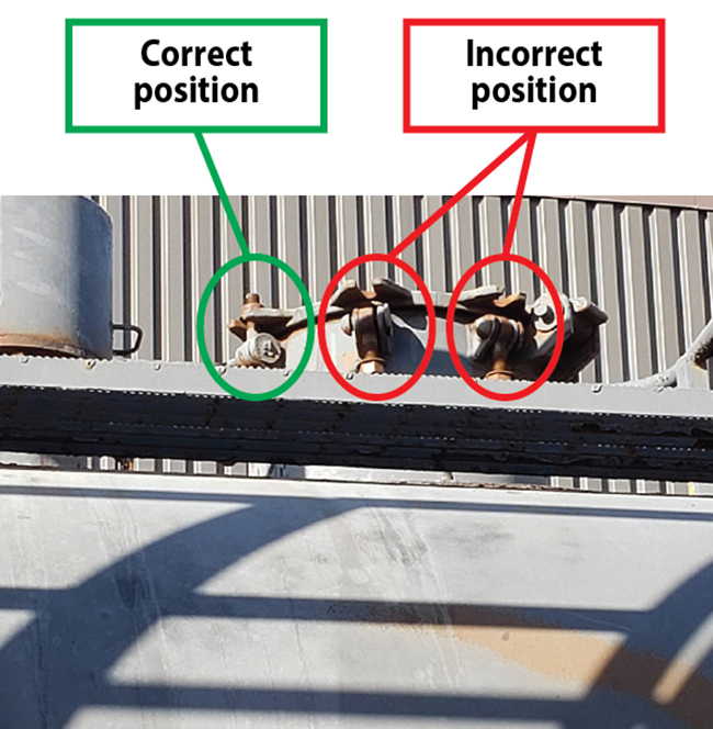Photograph of 3 bolts that secure a cover on a rail car: the first in the correct position and the second and third in incorrect positions