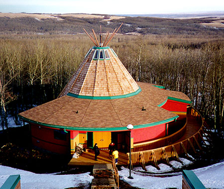 This photograph shows the Okimaw Ohci Healing Lodge in Maple Creek, Saskatchewan