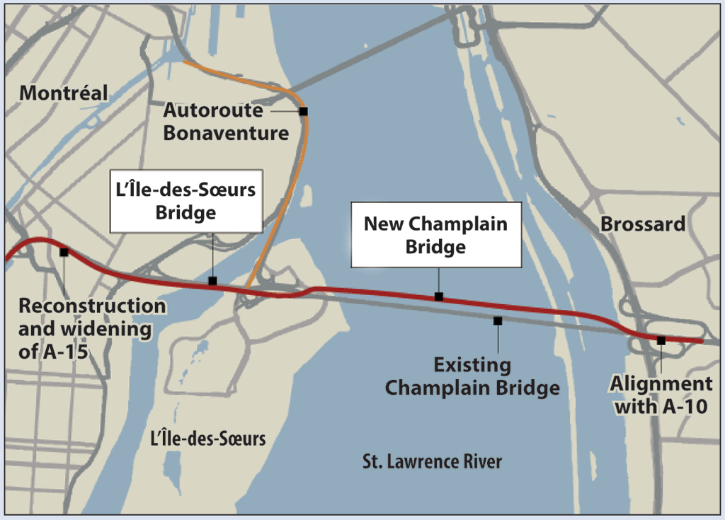 A map showing the locations of the existing Champlain Bridge, the new Champlain Bridge, and the L'Île-des-Soeurs Bridge