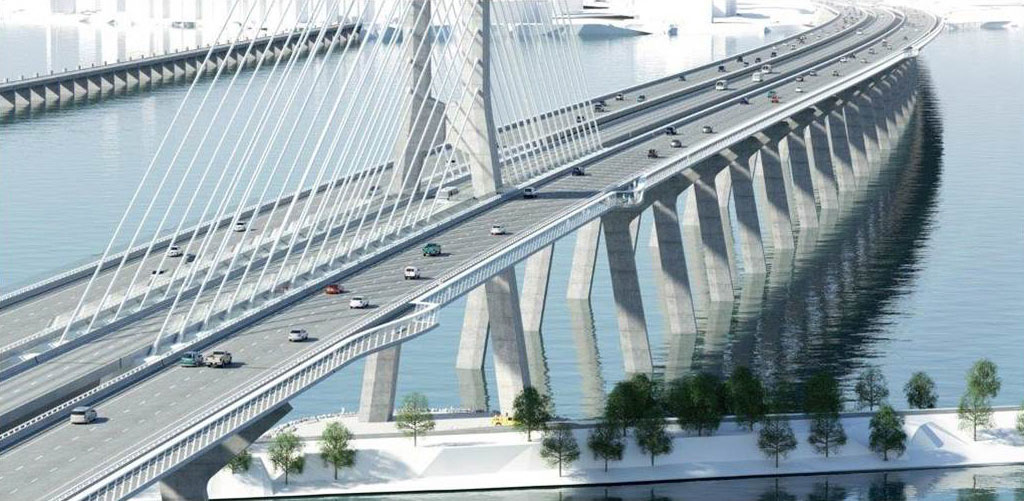 Architect's rendering of the new Champlain Bridge being used by cars and other vehicles